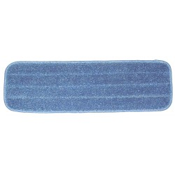 18in Wet Mop Pad - Blue - Rectangular - Stitched - Hook and Loop Fastener""