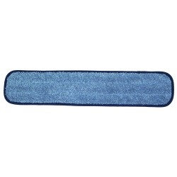 24 inch Wet Mop Pad - Blue - Rectangular - Piped - Hook and Loop Fastener 24""