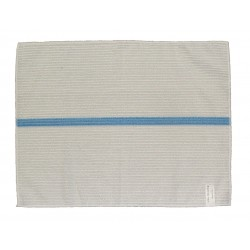 14x18 inch Ribbed Bar Towels - White w/Lt. Blue Stripes - Square Corners