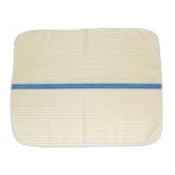 14x18 inch Ribbed Bar Towels - White w/Lt. Blue Stripes - Rounded Corners