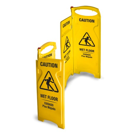 4-sided Folding Wet Floor Sign - Yellow